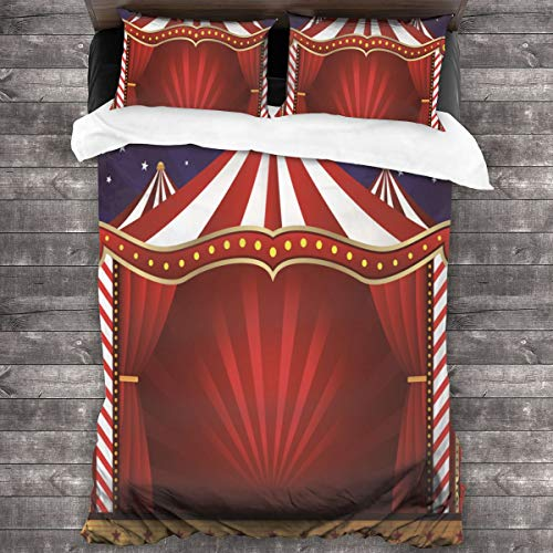 MAYUES Duvet cover bedding Set,Circus Curtains Tent Circus Canvas Theater Performance,3 Piece Set bedding with 2 pillowcases,Double(200 * 200cm)
