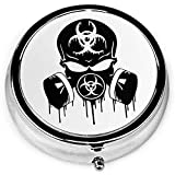 Blk Skull Dripping Biohazard Respirator Portable Round Silver Pill Box Pocket 3 Compartimento Medicine Case para bolsillo o monedero