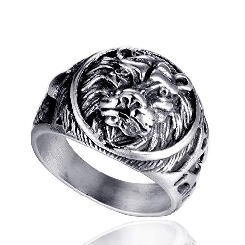 TnSok Stainless Steel Ring Men's Ring Galvanized Lion Head Ring Metal Rock Punk Style Gothic Biker Ring Handsome Ring (Color : Silver, Size : 11)