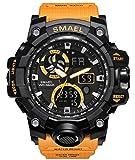 Military Men's Sports Analog Quartz Watch Dual Display Alarm Digital Watches with LED Backlight (Orange)