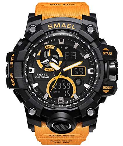 Reloj analógico de cuarzo para hombre con doble pantalla y alarma digital con iluminación LED, Caqui