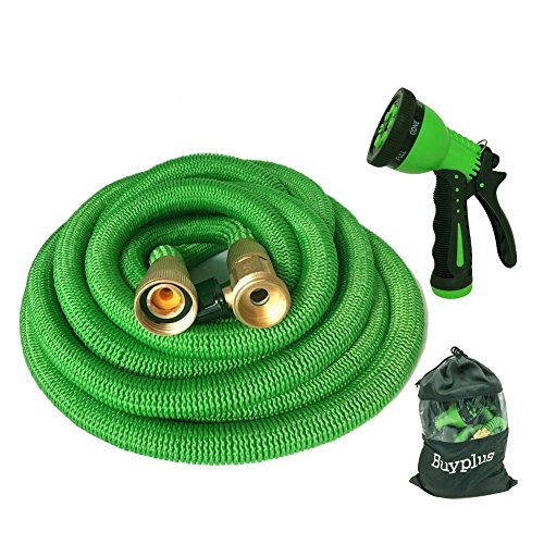 """Buyplus Collapsible Garden Hose - Improved 50ft Expanding Water Hose Kit, with Double Latex Core, 3/4"""" Solid Brass Fittings, 9 Function Watering Spray Nozzle, Storage Bag"""
