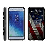 TurtleArmor | Compatible with Samsung Galaxy J7 (2018) Case | J737 [Hyper Shock] Rugged Hybrid Dual Layer Armor Holster Belt Clip Case - American Flag