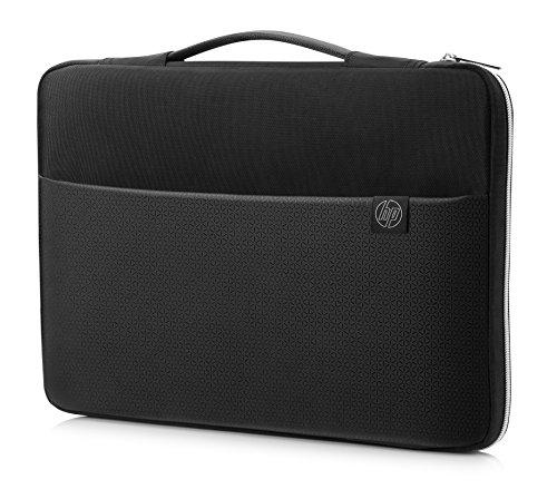 """HP Carry Sleeve - Funda para portátiles de hasta 17.3"""" (ligera y resistente al agua, diseño estampado, cremalleras fiables), negro y plata"""