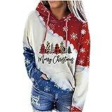 Hingpy Noël Sweat avec Capuche Manteau Femme Sweatshirt Casual Pull Impression De NoëL Sweat DéContracté Chic Automne Hiver Sweat-Capuche