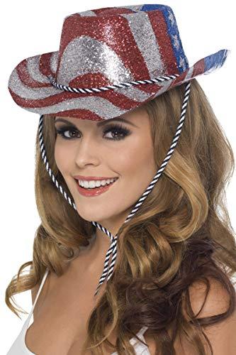 Smiffys Damen Glitzer Cowboy Hut mit Kordel, One Size, Rot, Silber und Blau, 22027