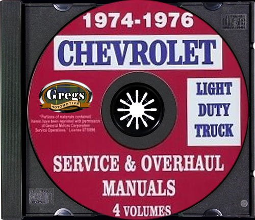 1974 1975 1976 Chevy Truck Shop Repair Service Manual - CD 74 75 76 (with Key Chain)