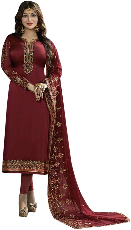 Indian Ethnic Gorgeous Straight Long Salwar Kameez suit With Dupatta Muslim Party Wear 7154