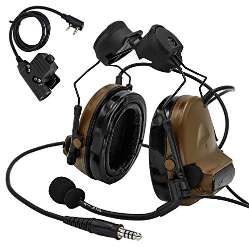 TAC-SKY Tactical Headset Comta II Helmet Version Noise Reduction Sound Pick Up for Airsoft Activities (Coyote Brown)