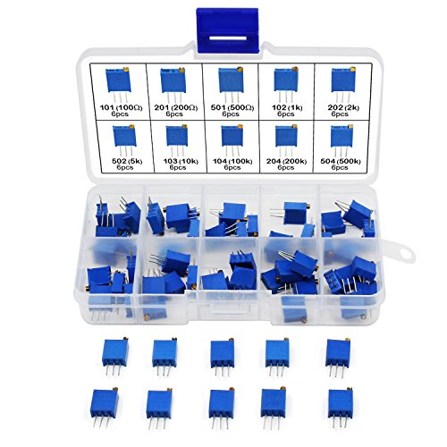 AIKE 10Values 100ohm- 500K Ohm 3296 Trimmer Trim Pot Potentiometer Resistor Kit 60pcs