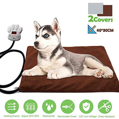 FOCHEA Manta Eléctrica Mascotas, Cojín de Calefacción para Perros y Gatos con 7 Niveles de Temperatura Ajustable, 25~55℃, 2 Cubiertas de Muletón (30 * 40 cm)