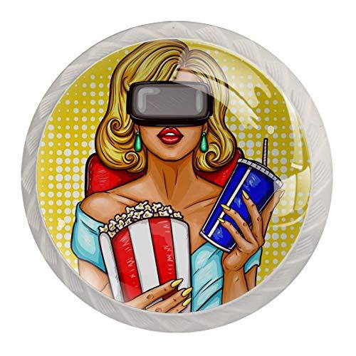 AITAI Pomo redondo para armario con gafas de realidad virtual, 4 unidades