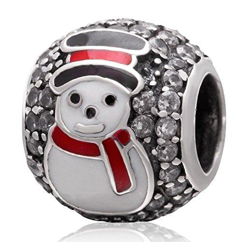 925 Sterling Silver Christmas Charm Santa Claus Charm Snowman Charm Tree Charm Deer Charm for Pandora Charms Bracelet (B)