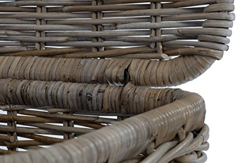 Rattankorb Groß mit Deckel, Flechtkorb auf stabilem Eisenrahmen mit Deckel / Truhe aus unbehandeltem Natur-Rattan, 70x47cm Grau - 4
