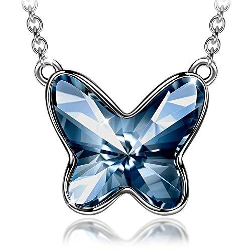 Sellot Mariposa Collar para Mujer Cristales de Swarovski Cadena de Plata de Ley 925 Regalos Personalizados para Ella Collar de Cristal Azul Vaquero B Regalos para Mamá con Cajas de Joyería