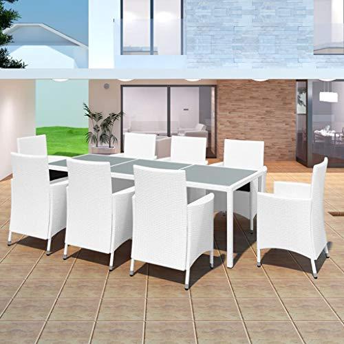 FAMIROSA Set de Comedor de jardín 9 Piezas ratán sintético Blanco Crema