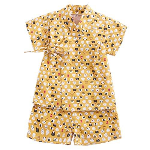Niños Jinbei Niñas Kimono Japonés Shijira Raya Ropa de Manga Corta para Bebés (A,0-6 Meses)