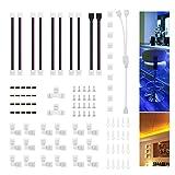 Kit de Conector de Tira de Luz LED, Juego de Accesorios para Tiras LED RGB 5050 10mm de 4 Pines, LED Conectores en Forma de L y Conector de Esquina, Clips de Fijación