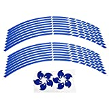 Adesivi ruote per cerchioni, 16pcs bici moto 16-18 pollici riflettenti adesivi striscia ruota accessorio decorazione(Blu)