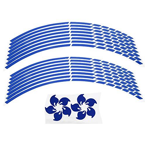 16pcs decalcomania della banda del cerchione della motocicletta, adesivo della decalcomania della ruota del cerchione della motocicletta bici moto 16-18 pollici adesivi striscia riflettente(blu)