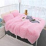 WINLIFE Super Soft Shaggy Bedding Set Fluffy Faux Fur Duvet Cover Crystal Velvet Warm 3PCS (1 Faux Fur Duvet Cover + 2 Faux Fur Pillow Shams), Zipper Closure (Pink, Twin)