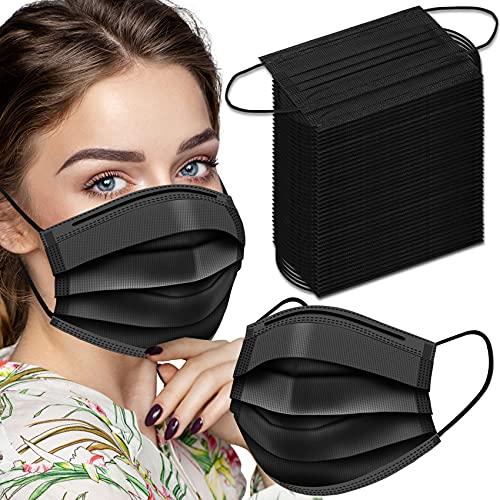 Black Disposable Face Masks, 100 Pack Disposable...