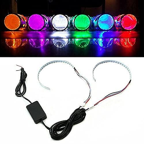 "2PCS Demon Eyes Projector Headlight Retrofit Kit 2.5"" 2.8"" 3.0"" 12V RGB Halo Ring LED Remote Control Headlights kit for Car Auto Motorcycle"