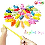 MIMIDOU 30 Pcs Finger Slingshot Animal Toy, Funny Stretchable Flick Rubber Animals, a Variety Simulation Animals Great for Various Festivals and Parties.