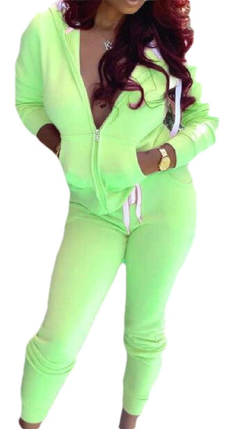 花ペダル下にWomen's 2 Piece Outfits Long-Sleeve Jacket+Pants Casual Tracksuit