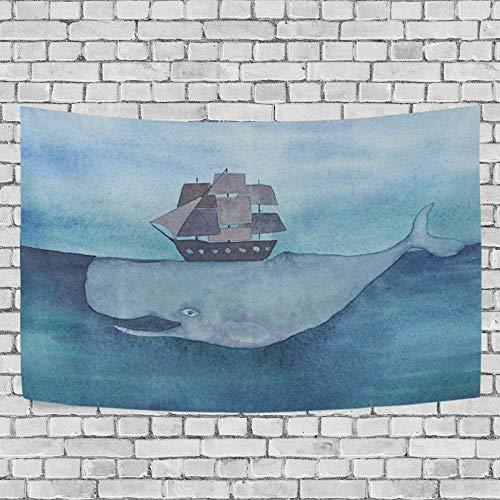 JXZIARON Tapiz Art Paño para Colgar en la Pared Impresión HD Cocina Dormitorio Sala de Estar Decoración,Ballena Gigante con Fondo Exclusivo de Barco en el océano para 60 x 40 Pulgadas