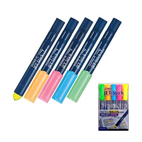Donga Pen Inkjet Safe Jet Stick Solid Gel Fluorescent Highlighter, INK JET Safe - Pack of 5 Pens