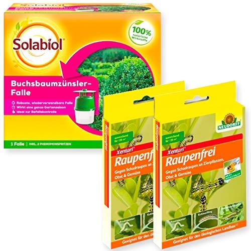 Buchsbaumzünsler Falle Solabiol + 4 x 3 g Raupenfrei Xentari Set+ Gratiszugabe 20g Kressesamen Sprint