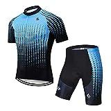 GWELL Herren Radtrikot Atmungsaktive Fahrradbekleidung Set Trikot Kurzarm + Radhose mit Sitzpolster für Radsport Blau Farbverlauf (Set mit Shorts) 3XL