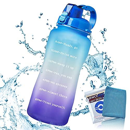 Owill 2L Sportwasserflasche mit Strohhalm mit Zeitetikett, auslaufsichere Wasserflasche ohne Bisphenol, verwendet für Fitness- und Outdoor-Sportarten