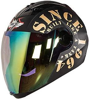 Steelbird TANK with Night Vision visor in Matt Finish (Large 600 mm, Black/Gold)