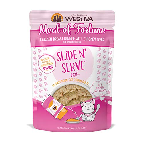 Weruva Slide N' Serve Paté Wet Cat Food, Meal Of Fortune Chicken Breast Dinner With Chicken Liver, 2.8Oz Pouch (Pack Of 12)