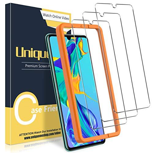 UniqueMe [3 Stück] Schutzfolie für Huawei P30 Panzerglas, Folie für Huawei P30 Schutzglas,[Anti- Kratzer][9H Härte] HD Panzerglasfolie Klar Displayschutz Gehärtetes Glas