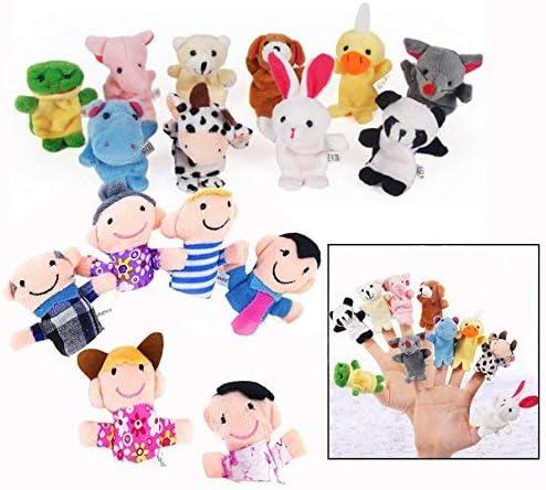 Binnan Lot de 16 Marionnette à Doigt - 10 Animaux et 6 Personnes Membres de la Famille Marionnettes, Marionnettes à D...