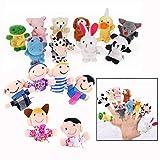 Binnan Lot de 16 Marionnette à Doigt - 10 Animaux et 6 Personnes Membres de la Famille Marionnettes, Marionnettes à Doigts Animaux Bébé Histoire Temps