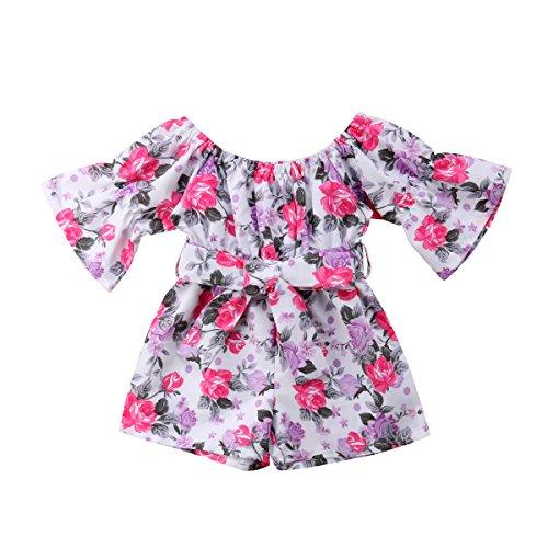 Shawnlen Kleinkind Baby Mädchen Einteiliges Langarm Off-Schulter Bund Ethnische Blumendruck Strampler Outfits Kleidung (3-4 Jahre, Rosa)