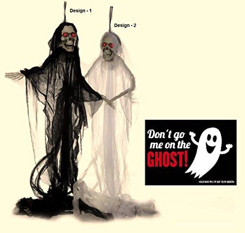 NV Halloween Figur Sensenmann - Basic - animiert & Postkarte Don't go me on The Ghost! - Set ~