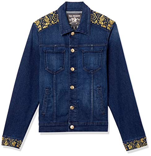 True Religion Men's Denim Long Sleeve Jacket with Gold Lurex, Fresh in Blue, Medium