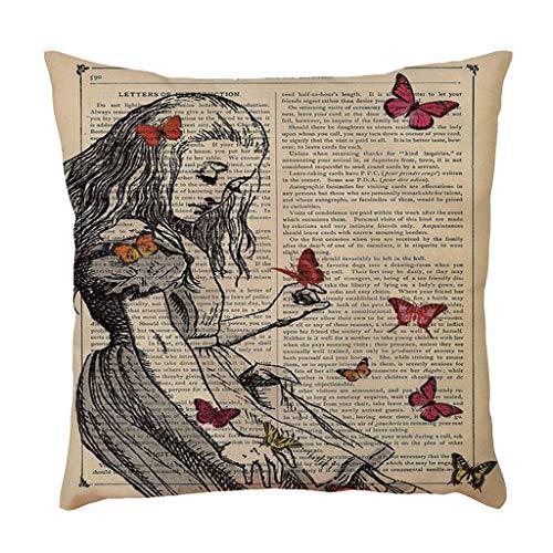 SIRIGOGO Funda de almohada decorativa de lino y algodón para el hogar, 45 x 45 cm, regalo de amor para novia, funda de almohada decorativa para sofá, sofá o sofá