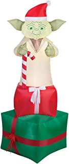 Airblown Inflatable Yoda On Presents 6 Feet Tall Prop Christmas Decoration