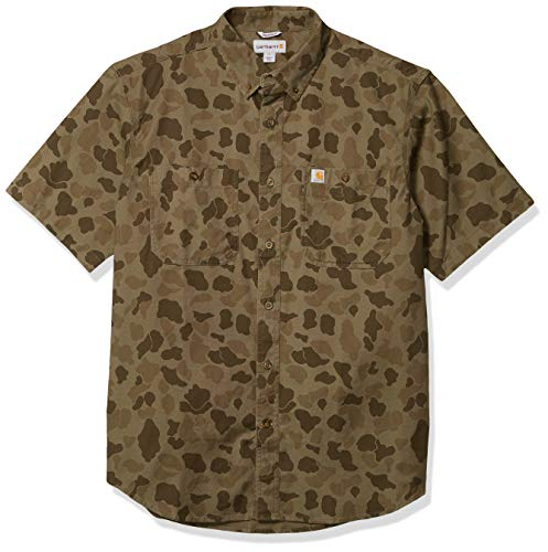 Carhartt Men's Rugged Flex Rigby Short Sleeve Work Shirt, Tarmac/Duck Camo, Large