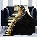 Piano Music Note Soft Throw Blanket All Season Microplush Warm Blankets Lightweight Tufted Fuzzy Flannel Fleece Throws Blanket for Bed Sofa Couch