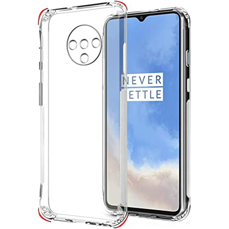 TheGiftKart Ultra Clear Slim Anti-Slip Grip Soft Silicone Back Cover Case with Complete Camera Protection & Anti-Dust Plugs Built-in for OnePlus 7T (Transparent)