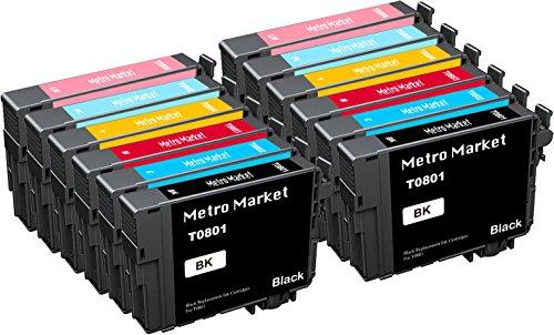 Metro Market 8 Piezas para Epson (T0807) Cartuchos de Tinta Compatible para Epson Stylus Photo P50 PX650 PX660 PX700W PX710W PX720WD PX730WD PX820FWD PX830FWD R265 R285 R360 RX560 RX585 RX685