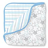 SwaddleDesigns 4-Layer Cotton Muslin Luxe Blanket, Cuddle and Dream, Blue Starshine Shimmer