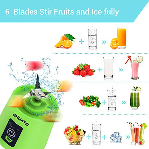 [Upgraded Version] USB Juicer Cup by BHUATO, Portable Juice Blender, Household Fruit Mixer – Six Blades in 3D, 380ml…